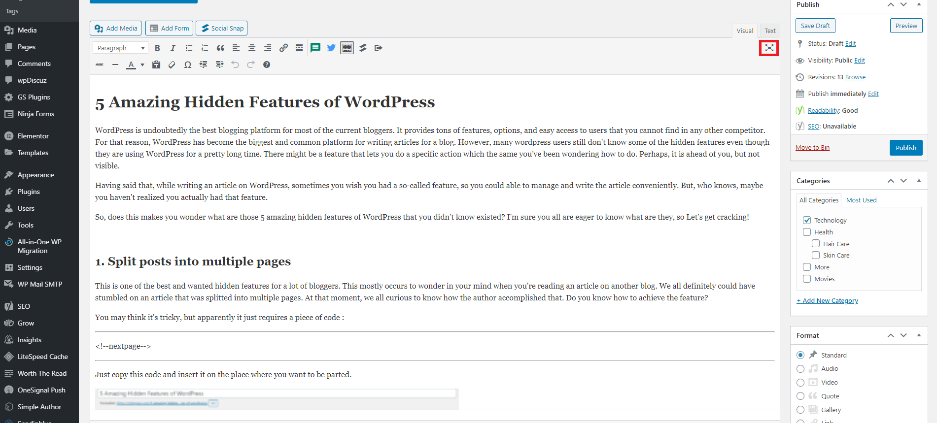 Distraction free writing mode hidden features of wordpress 1