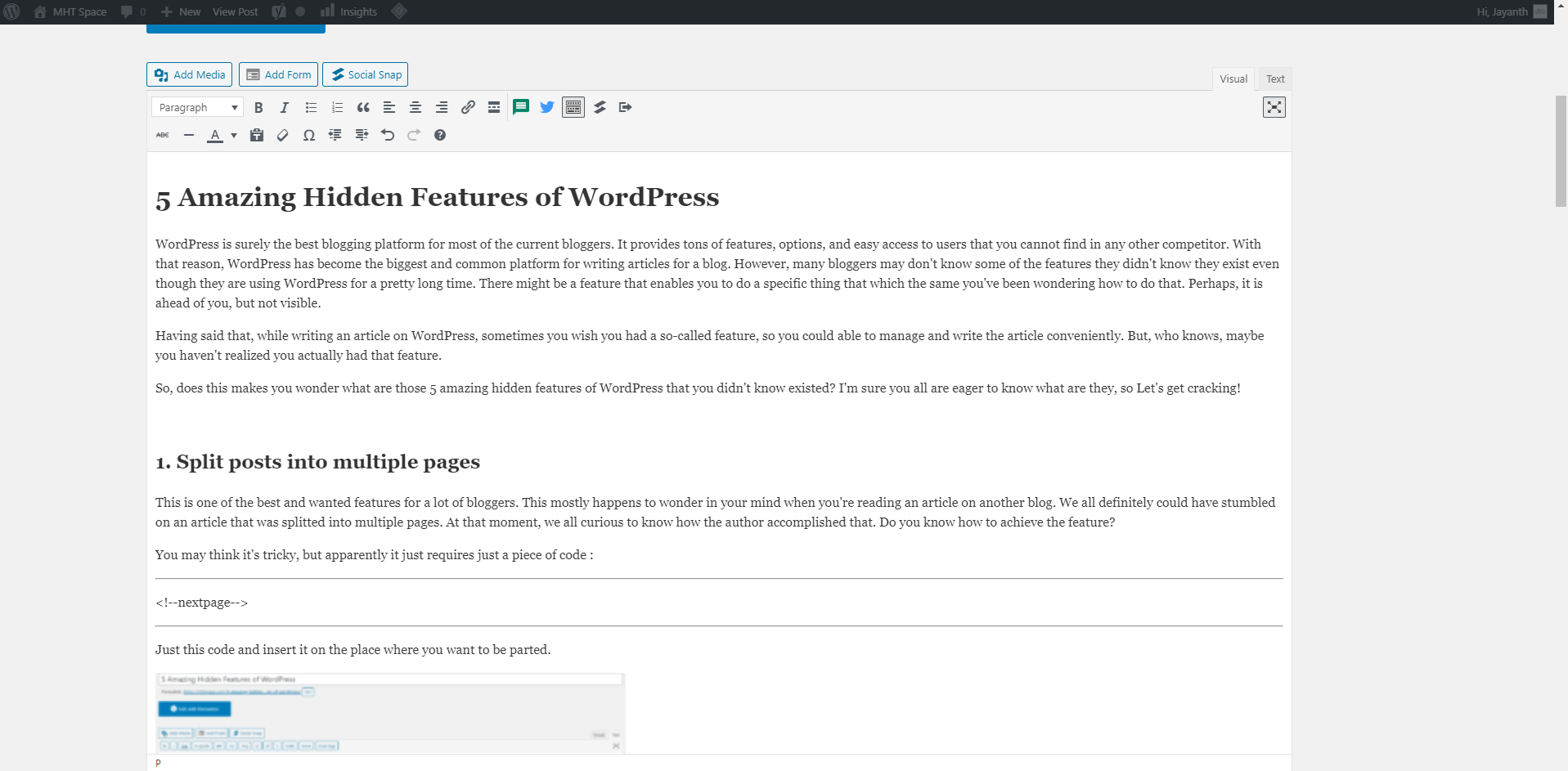 Distraction free writing mode hidden features of wordpress 2