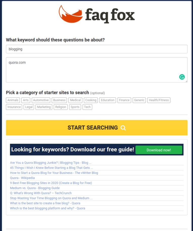 FAQfox free seo tools